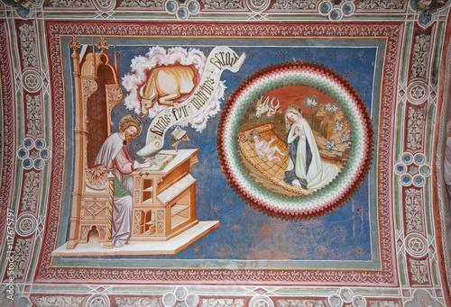l'evangelista Luca e la natività; affresco della volta della chiesa si S Wallpaper Mural