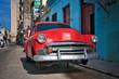 Vintage red car in Havana street