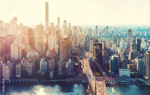 Wall Murals Air photo Aerial view of the New York City skyline
