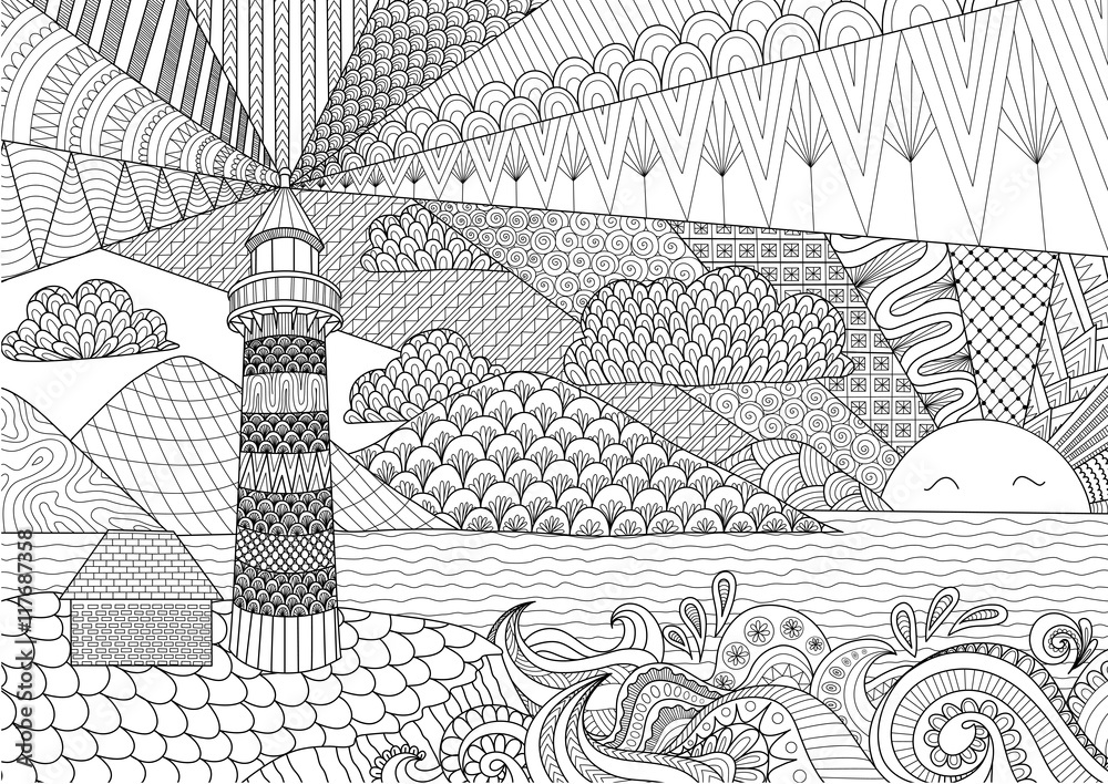 Seascape line art design for coloring book for adult, anti ...