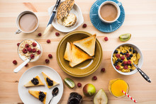 Breakfast Table With Various Food