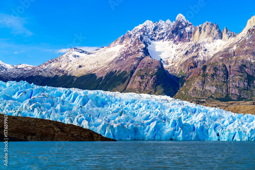 Poster Glaciers Grey Glacier at the Grey Lake in southern patagonia ice field