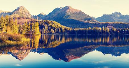 Fototapetamountain lake in the Italian Alps,retro colors, vintage