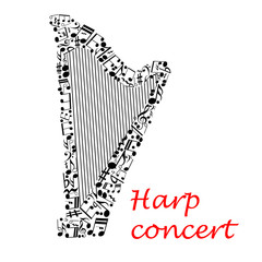 FototapetaMusical poster design with harp and notes