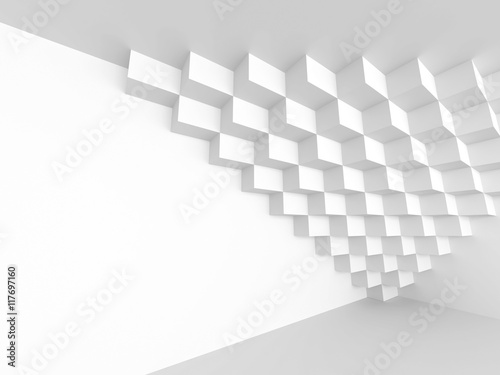 Fototapety, obrazy: White Abstract Futuristic Architecture Background. Cubes Geometr