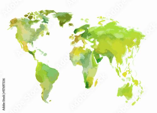 Watercolor green world map Wallpaper Mural