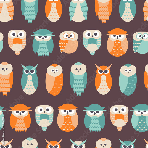 Canvas Prints Seamless Cute Owl Background in Vector