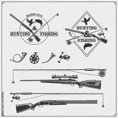 Vector elements for vintage hunting and fishing club Canvas Print