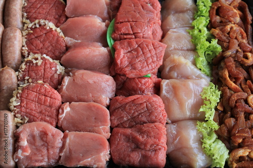 Staande foto Vlees Small pieces of meat