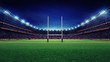 canvas print picture - huge rugby stadium with fans and green grass