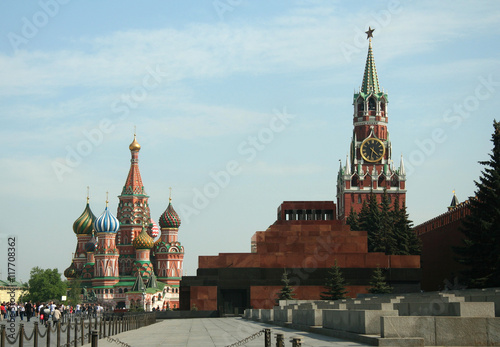Wall Murals Moscow Kremlin tower with chime on the red square and The Cathedral of Intercession of the Virgin on the Moat , Moscow