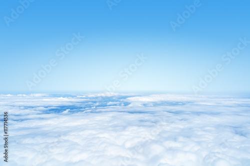 Aluminium Prints Heaven flight over the clouds background
