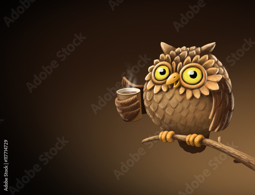 Poster Uilen cartoon Night owl with coffee. Illustration