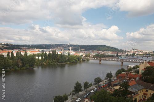 Aluminium Prints Prague View of the River Vltava and the railway bridge. Prague