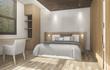 3d rendering wood bedroom with good atmosphere
