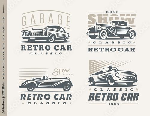 Klasyczne samochody ilustracje na jasnym tle