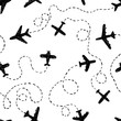 Seamless pattern - doodle airplanes with ways