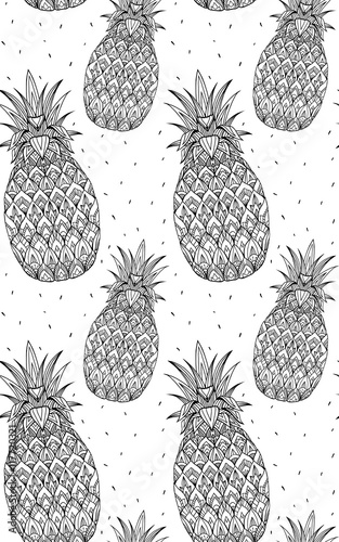 8306a45e Seamless doodle texture with pineapple with boho pattern. Vector element  for printing on T-shirts, coloring books for adults and postcards.