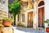 Fototapeta Uliczki - charming narrow streets of traditional greek villages - Naxos island