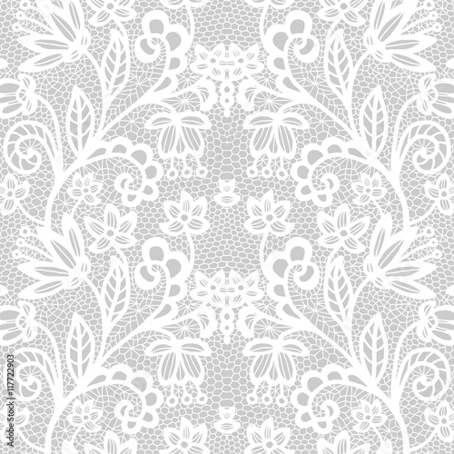 Poster Artificiel Lace seamless pattern with flowers