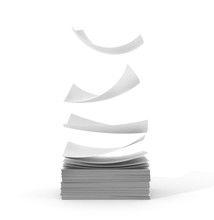 White Papers Falling Up On White Background. 3d Illustration