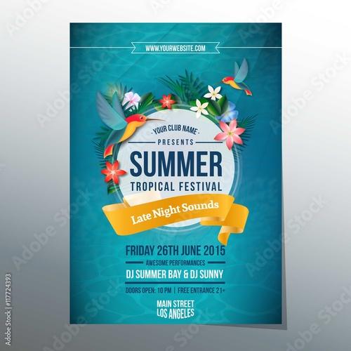 Summer tropical festival poster © Freepik