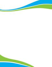 Blue Green Swirl Wave Letterhead Template