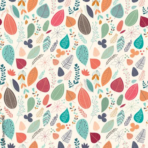 Tapety Kwiaty jesien-wzor-z-liscmi-i-roslinami