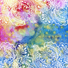 Fototapeta na wymiar Calligraphic Vintage Pattern, Abstract Floral Outline Ornament, White Contours on Colorful Hand-Draw Watercolor Painting Background