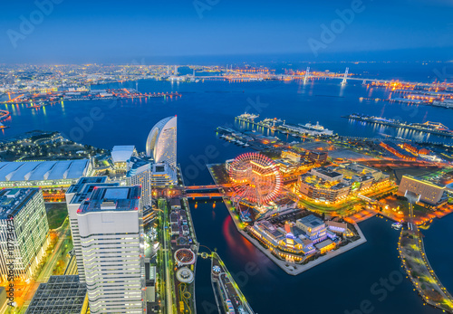 Spoed Foto op Canvas Canada Aerial night view of Yokohama Cityscape at Minato Mirai waterfront district.