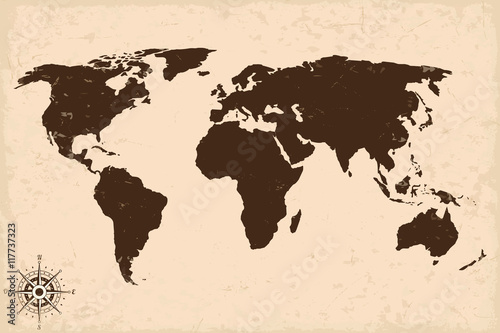 Old world map with grunge. Vector illustration