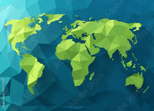 Vector polygonal world map. Low poly design. Origami planet illustration. Conceptual world illustration.