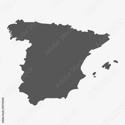 Spain map in gray on a white background