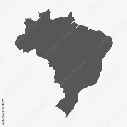 Brazil map in gray on a white background Fotobehang