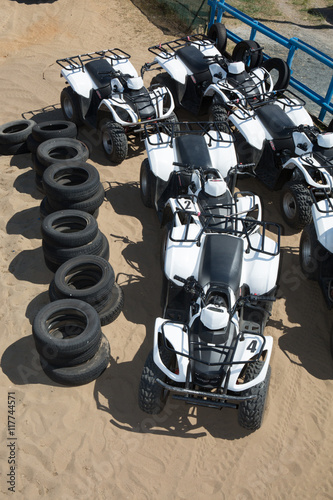 Flat lay of quads on the beach