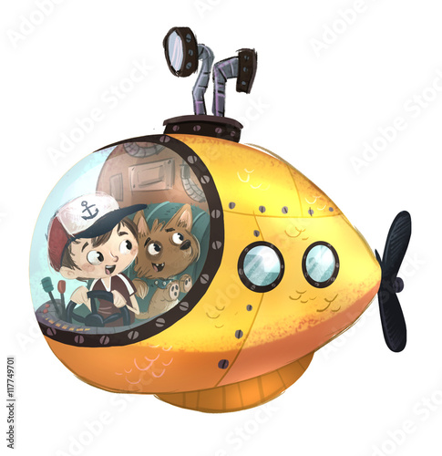 Fotografie, Obraz  niño y perro en submarino