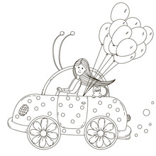 Girl Riding A Beetle Car With ...