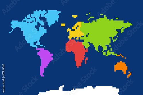 Colored world map pixel art vector illustration buy this stock colored world map pixel art vector illustration gumiabroncs Choice Image