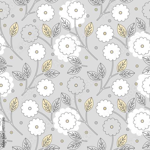 Fototapeta na wymiar Beautiful seamless pattern with flowers and leaves