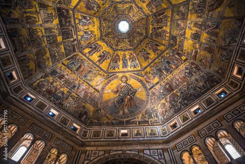 Plakat Mozaika sufit Baptysterium San Giovanni, Florencja