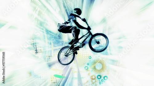 Canvas Extreme sport, bmx rider.