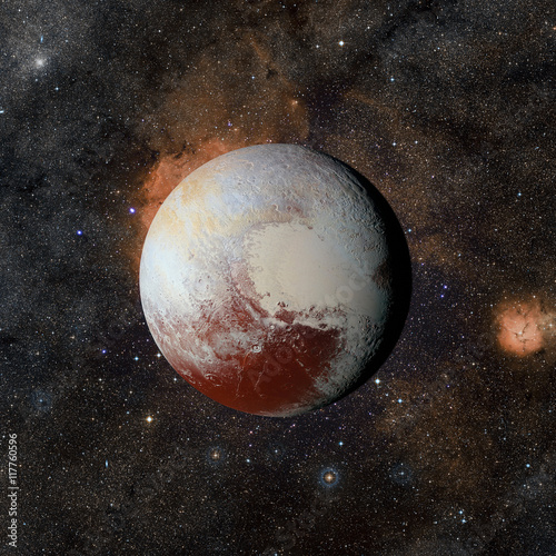 Платно Solar system planet Pluto on nebula background. Elements of this