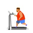 man running on treadmill. vector illustration