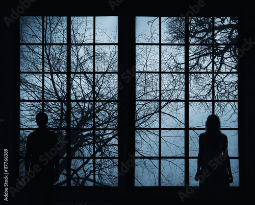 Silhouette of a young couple standing and looking through big window at tree crown branches background. Couple concept relationship background.