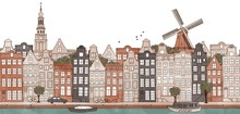 Amsterdam, Netherlands - Seamless Banner Of Amsterdam's Skyline, Hand Drawn And Digitally Colored Ink Illustration