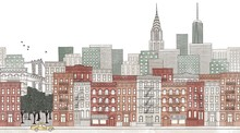 New York City - Seamless Banner Of New York's Skyline, Hand Drawn And Digitally Colored Ink Illustration