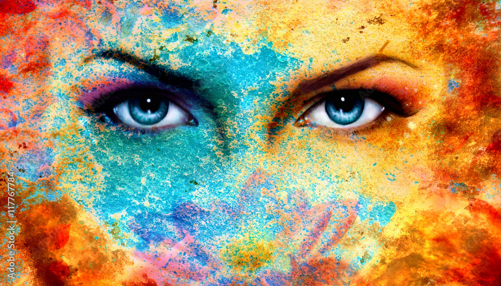 Fototapeta A pair of beautiful blue women eyes beaming, color rust effect,
