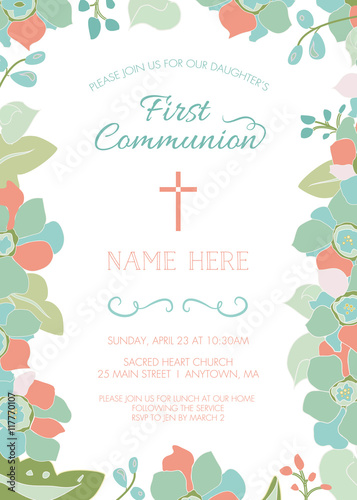 First Communion Baptism Christening Invitation Card