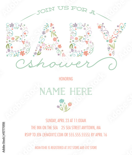 Baby shower invitation template pretty floral design with drawn baby shower invitation template pretty floral design with drawn flowers mightylinksfo