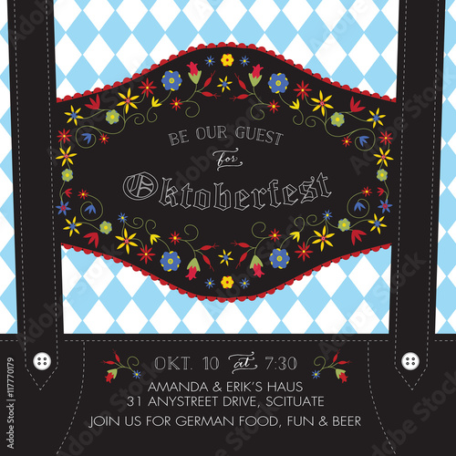 Fotografie, Obraz  Oktoberfest Invitation Template with Lederhosen Suspenders, Flowers, and Bavaria